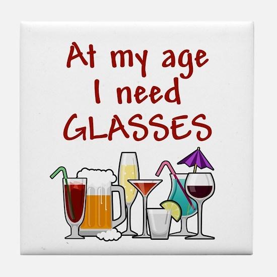 I need glasses Tile Coaster