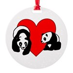 Panda Bear Love Round Ornament