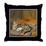 MAMA CAT & PUPPY Throw Pillow
