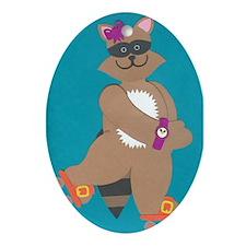 Robin Raccoon Ornament (Oval)