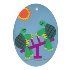 Twin Turtles Ornament (Oval)