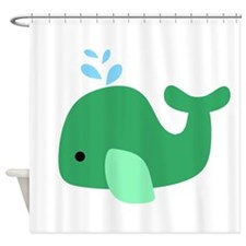 Green Whale Shower Curtain