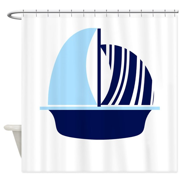Navy Blue White Stripe Sail Boat Shower Curtain By NauticalLittleTreasures