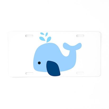 Light Blue Whale Aluminum License Plate