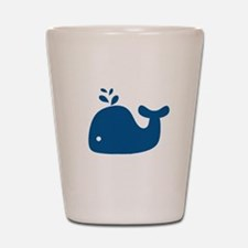 Navy Blue Silhouette Whale Shot Glass