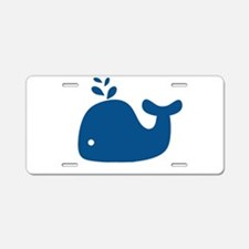 Navy Blue Silhouette Whale Aluminum License Plate