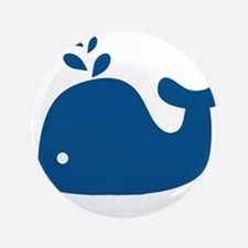 """Navy Blue Silhouette Whale 3.5"""" Button (100 pack)"""