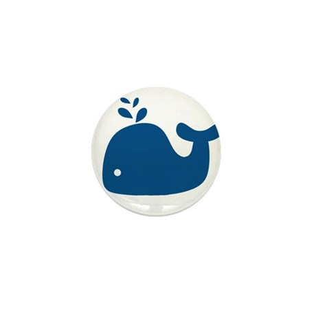 Navy Blue Silhouette Whale Mini Button (10 pack)