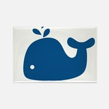 Navy Blue Silhouette Whale Rectangle Magnet (100 p