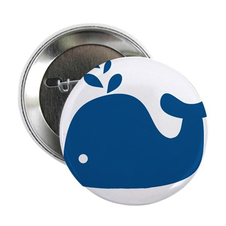 """Navy Blue Silhouette Whale 2.25"""" Button (100 pack)"""