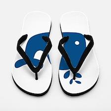 Navy Blue Silhouette Whale Flip Flops