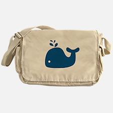 Navy Blue Silhouette Whale Messenger Bag
