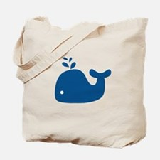 Navy Blue Silhouette Whale Tote Bag