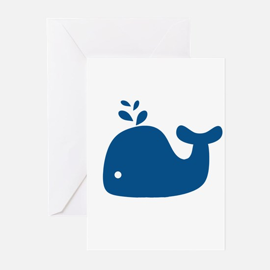 Navy Blue Silhouette Whale Greeting Cards (Pk of 2