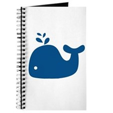 Navy Blue Silhouette Whale Journal
