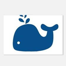 Navy Blue Silhouette Whale Postcards (Package of 8