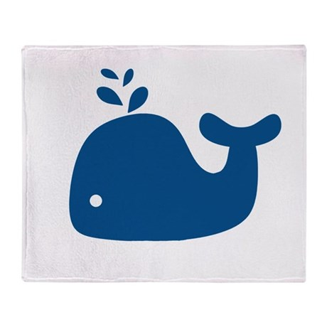 Navy Blue Silhouette Whale Throw Blanket