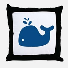 Navy Blue Silhouette Whale Throw Pillow