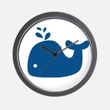 Navy Blue Silhouette Whale Wall Clock
