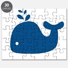 Navy Blue Silhouette Whale Puzzle