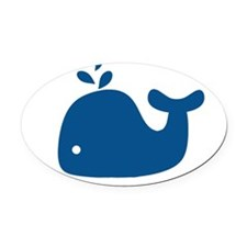 Navy Blue Silhouette Whale Oval Car Magnet
