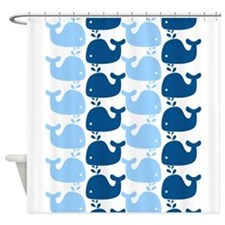 Whale Silhouette Print Shower Curtain