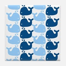 Whale Silhouette Print Tile Coaster
