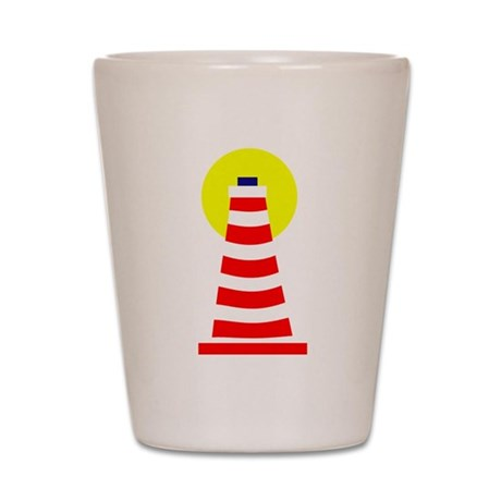 Red White Lighthouse Shot Glass