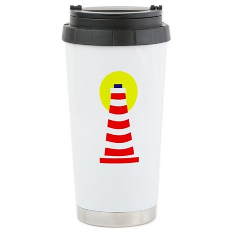 Red White Lighthouse Stainless Steel Travel Mug