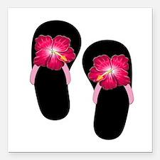 "Pink Hibiscus Flip Flops.png Square Car Magnet 3"""