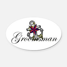 Groomsman Anchor.png Oval Car Magnet