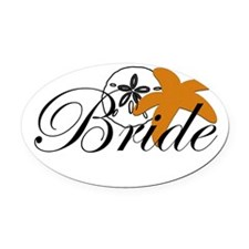 Sand Dollar Starfish Bride.png Oval Car Magnet