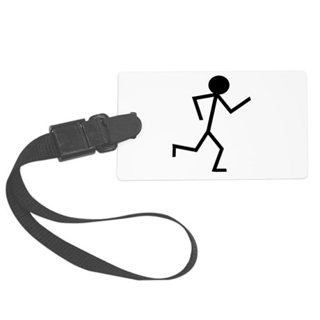 Running Stickman.png Large Luggage Tag