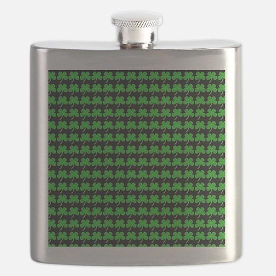 Green Shamrocks St. Patricks Day Black Flask