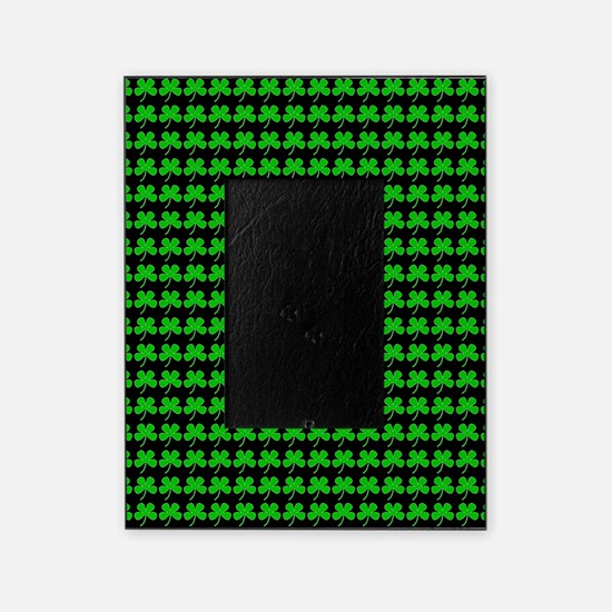 Green Clovers St. Patricks Day Black Picture Frame