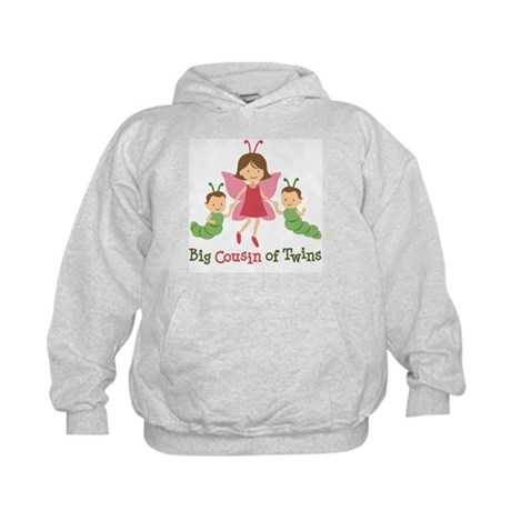 Big Cousin of Twins - Butterfly Kids Hoodie