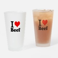 i love beef, beef, meat Drinking Glass