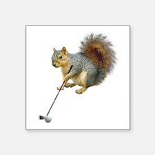 "Golfing Squirrel Square Sticker 3"" x 3"""