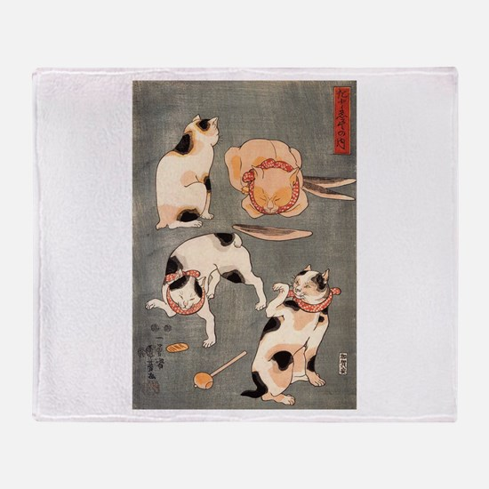Japanese Cats Throw Blanket