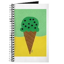 Mint Chocolate Chip Ice Cream Cone Journal