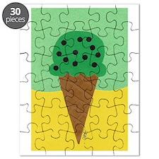 Mint Chocolate Chip Ice Cream Cone Puzzle