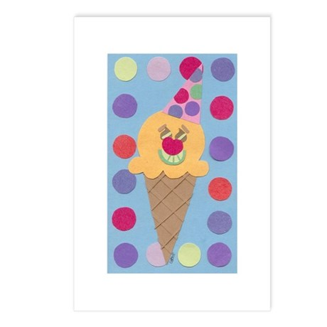 Ice Cream Clown Postcards (Package of 8)