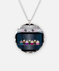 Cute Happy Oven with cupcakes Necklace