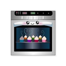 "Cute Happy Oven with cupcakes Square Sticker 3"" x"