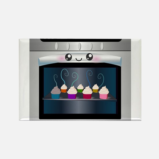 Cute Happy Oven with cupcakes Rectangle Magnet