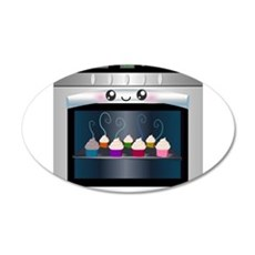 Cute Happy Oven with cupcakes Wall Sticker