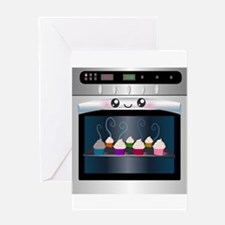 Cute Happy Oven with cupcakes Greeting Card