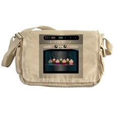 Cute Happy Oven with cupcakes Messenger Bag