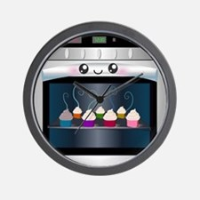 Cute Happy Oven with cupcakes Wall Clock