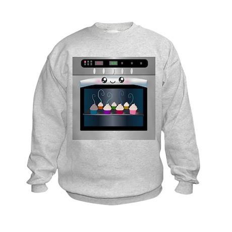 Cute Happy Oven with cupcakes Kids Sweatshirt